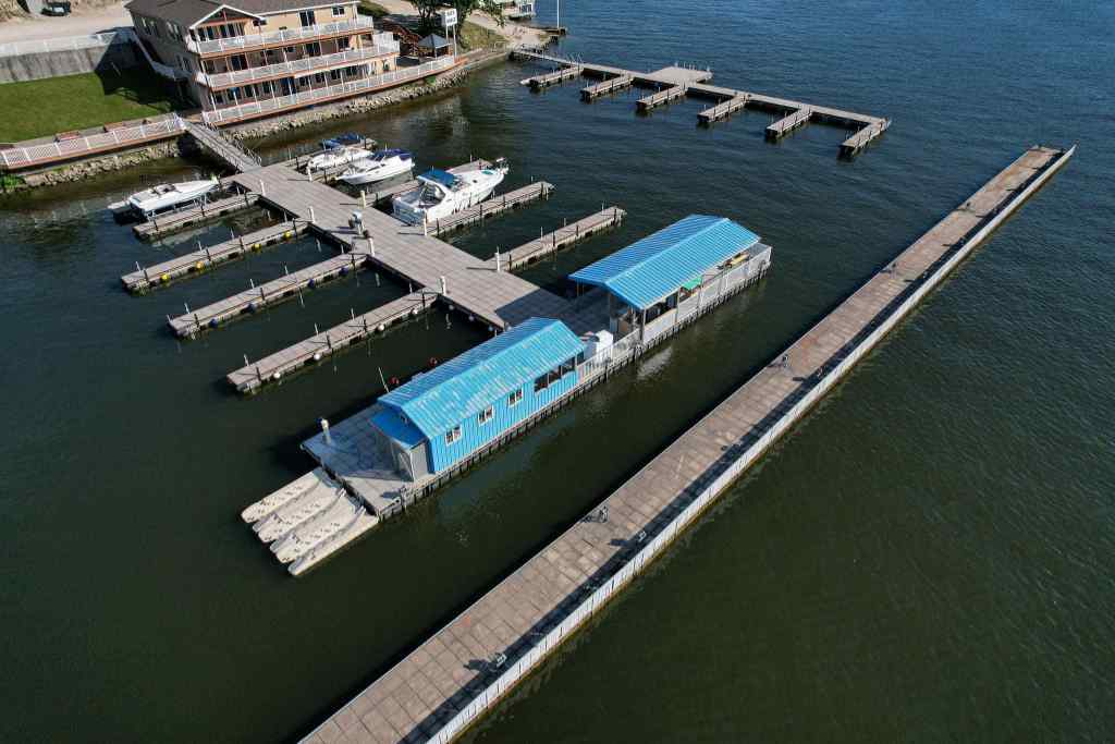Aerial view of the LOTO marina & gas dock